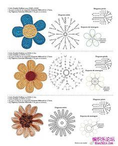 코바늘도안_꽃모티브 25종_그림도안 : 네이버 블로그 Crochet Flower Patterns, Crochet Motif, Irish Crochet, Crochet Flowers, Crochet Stitches, Knit Crochet, Crochet Hats, Crochet For Kids, Diy Flowers
