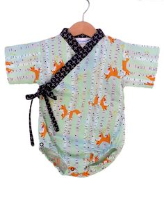 FOXY FRIENDS  kimono bodysuit  - japanese baby toddler jinbei kimono onesie by koolmono on Etsy https://www.etsy.com/listing/221546648/foxy-friends-kimono-bodysuit-japanese