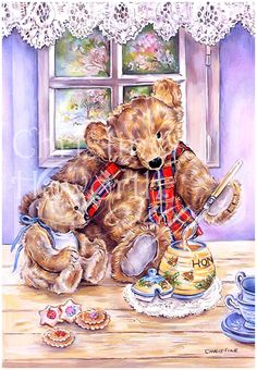 Meadow Cottage Bears : Breakfast For Baby Bear © Copyright Christine Haworth Designs
