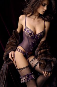 Sexy Lingerie + the Occasional Bikini Babe Belle Lingerie, Hot Lingerie, Stockings Lingerie, Purple Lingerie, Pretty Lingerie, Beautiful Lingerie, Lingerie Models, Sexy Stockings, Luxury Lingerie