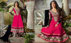 Buy Pink Black #AnarkaliSuit at discounts of up to 10%. Get Extra Discount On #Online Payments. Shop Now:- http://www.shoppers99.com/karishma_kapoor_anarkali_suits/pink_black_anarkali_suit_t-536-1242