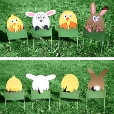 These character wickets are part of our Cottontail Croquet party. These fun bunnies, chicks, ducks and lambs will help you on your important journey through the Briar Patch. Easter Games, Easter Crafts For Kids, Diy For Kids, Easter Ideas, Easter Holidays, Christmas Holidays, Thanksgiving Games, Easter Parade, Kids Party Games