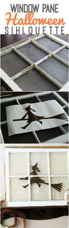 DIY | rustic window pane turned Halloween decor! Great idea!