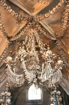 There is a cathedral in the Czech Republic that is made entirely of human bones. This chandelier contains every bone of the human body. It is said that so many people were dying of war and plague that they were running out of places to bury them, so a cathedral was made. Wow, wow, wow! Kutna Hora, Czech Republic.