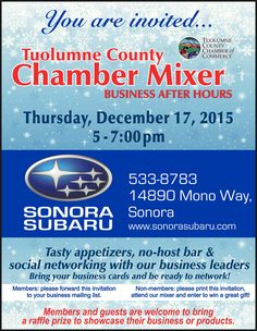 """Upcoming Christmas Mixer next Thursday at Sonora Subaru with entertaining music provided by the """"Yule Cats!"""" See the flyer for details."""