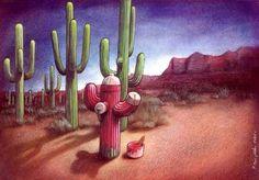 Cactus and water hydrant.  http://www.pictorem.com/profil/Pawel.Kuczynski  http://www.pawelkuczynski.com