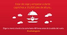 Pide tu menú a la carta en tu vuelo de largo radio. Hay un restaurante a 35.000 pies de altura. #vueloatugusto