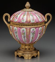 A Louis XVI-Style Porcelain and Gilt Bronze-Mounted Covered Bowl, century Marks: (pseudo-Sèvres - Available at 2016 September 17 - 18 Fine &. Dresden Porcelain, Porcelain Vase, Fine Porcelain, Painted Porcelain, Vintage Ceramic, Ceramic Art, Classic Home Furniture, Metal Vase, Decorated Jars