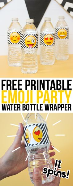 Free printable emoji party water bottle labels that spin to reveal different emoji faces. How cute would these be for your next emoji themed party?!