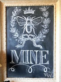 I have a chalkboard in my great-grandmother's vintage frame in the basement. Maybe it's time for some chalk art.  Dig the bees lately.