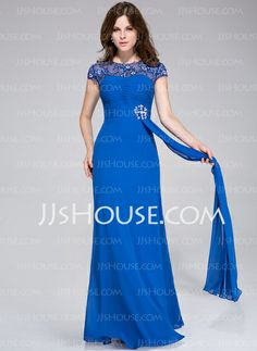 Evening Dresses - $144.49 - Sheath Scoop Neck Floor-Length Chiffon Tulle Evening Dress With Ruffle Lace Beading (008025469) http://jjshouse.com/Sheath-Scoop-Neck-Floor-Length-Chiffon-Tulle-Evening-Dress-With-Ruffle-Lace-Beading-008025469-g25469