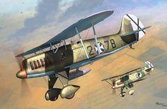 Heinkel He 51B Adolf Galland, Spanish Civil War, by Jerry Boucher