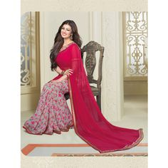 Shop Pink Georgette Printed Saree Bollywood Party Wear With Lace by Aashna online. Largest collection of Latest Sarees online. ✻ 100% Genuine Products ✻ Easy Returns ✻ Timely Delivery