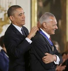 """President Obama awards minister, author and civil rights activist Cordy Tindell """"C.T."""" Vivian the Presidential Medal of Freedom."""
