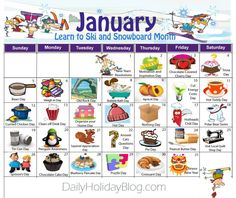 Download your free January Daily Holidays Calendar for Daily Holiday Blog!  Cute!