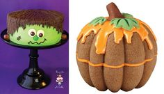 Halloween cake tutorials: Frankenstein monster cake from The Bird on Cake Bakery and bundt cake Pumpkin tutorial by Wilton.