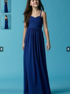 2015 Royal Blue Chiffon Floor Length Junior Bridesmaid Dress Seahorse girls 47540