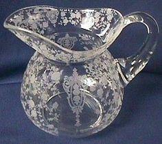 Cambridge Rosepoint Crystal Daulton Pitcher Antique Dishes, Vintage Dishes, Antique Glass, Etched Glass, Cut Glass, Glass Art, Crystal Glassware, Water Pitchers, Depressing