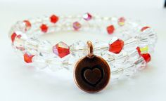 Valentines Day Bracelet-Wire Wrap-Brass Heart Charm-White and Red Glass Bicone Beads-2 Rows Wire Wrap by rosaliascharm on Etsy