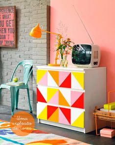 An easy way to brighten up a standard set of Ikea drawers