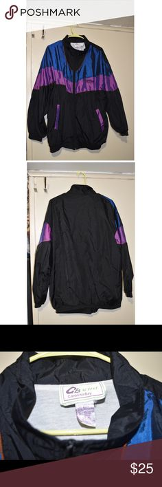 💋👗WEEKEND SALE👗💋 Windbreaker. Lowest price XL windbreaker . Holographic purple and blue accents, plain back . Two pockets lined with purple strips. Jackets & Coats