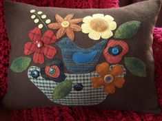 Bird in Blooms on Brown Wool Pillow Slipcover by rustiquecat