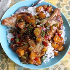 Hawaiian Pork Chops - Hawaiian Pork Chops are the perfect blend of sweet and savory, full of color and easier to make than you might think. These can be made for any weeknight dinner and served over rice the contrast is stunning enough to serve for company.