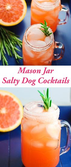 These Mason Jar Salty Dog Cocktails are so refreshing on a hot day, we added a sprig of Rosemary to give these a unique flavor! Mason Jar Cocktails, Mason Jars, A Food, Good Food, Yummy Food, Sin Gluten, Gin, Top Recipes, Drink Recipes
