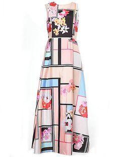 Multicolor Round Neck Sleeveless Print Maxi Dress
