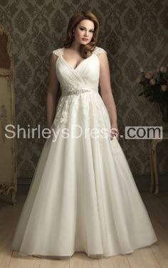 Romantic Cap-sleeved V-neck Embroidered Banded Tulle Wedding Gown