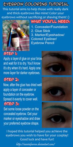 Because a lot of people ask me how I do it since I DO have horrible and thick eyebrows. I'm just a sucker since I use markers for coloring my eyebrows, . Tutorial: Coloring Eyebrows for Cosplay Cosplay Diy, Cosplay Makeup, Halloween Cosplay, Best Cosplay, Halloween Makeup, Halloween Peeps, Link Cosplay, Halloween Hair, Casual Cosplay