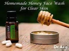 This Homemade Honey Face Wash for Clear Skin recipe is full of probiotics, tea tree oil that kills acne causing bacteria, & honey to help calm inflammation!