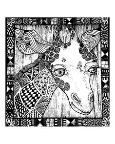 Free coloring page coloring-adult-africa-giraffe-head. Giraffe head and african framework