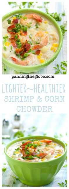 Shrimp and Corn Chowder: made with low fat milk, shrimp, corn potatoes, garlic and herbs. You won't miss the fat! #CLBlogger #Chowder #Shrimp