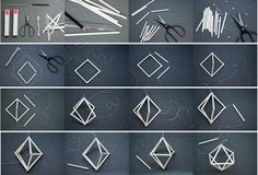 DIY with straws:Working Space Ideas Geometric Origami, Geometric Decor, Geometric Designs, Geometric Shapes, Diy Arts And Crafts, Creative Crafts, Straw Crafts, Cardboard Crafts, Wire Crafts