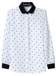 Blusa topos solapa manga larga-Blanco EUR€16.43
