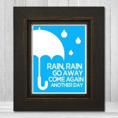 Custom Color Nursery Art 11x14- Kids Room Print - Kids Umbrella Print - Rain Rain Go Away - Choose Background Color