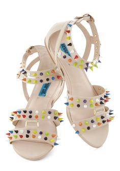 Pick a Color, Any Color Sandal - Cream, Studs, Strappy, Flat, Multi, Casual, Statement, Urban