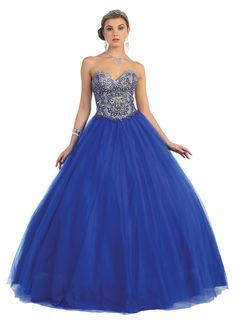 A stunning long strapless ball gown features a hand-bead accented bodice and frilly voluminous hoop skirt. Perfect for ball or any special occasion. All Sale Items are Final Sale Fabric : Tulle Closur