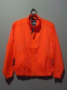 Vintage 80s the north face neon orange rain coat by BubaGumpBudu