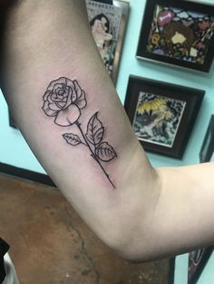 Rose tattoo. Arm tattoo. Outline tattoo simple rose. Simple tattoo first tattoo. Pretty tattoo