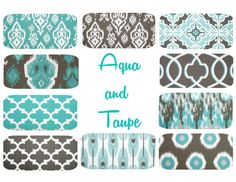 Aqua & Taupe Euro Shams in your choice of ten coordinating designs!!  Aqua Taupe Euro Pillow Cover  24 x 24 Mix & Match by PillowStyles, $23.00
