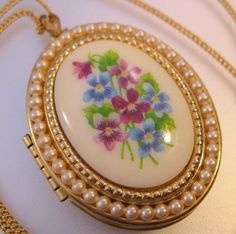 AVON Oval Violet Locket Pendant & Chain by BrightEyesTreasures, $16.99