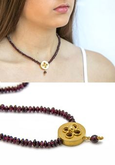Garnet necklace with an 18k gold plated round pendant - Vintage style pendant necklace - gift idea