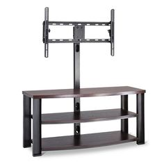 Bring order to your media experience with the Whalen Flat Panel TV Stand Espresso. 3 roomy shelves offer plenty of shelf space for electronics and media storage, and the attached TV mount is ideal for those who want to leave their walls unblemished. With clean lines, gently contoured shelves, and an open frame, this piece redefines the entertainment center.