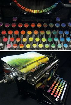 chromatic landscape printing machine. Tyree Callahan has recycled* (or upcycled, perhaps) a classic 1937 Underwood typewriter by replacing letters with sponges soaked across the spectrum with bright yellows, reds, blues and combinations thereof.