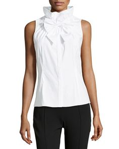 Clarissa Sleeveless Oxford Ruffle Blouse, White by Studio 148 by Lafayette 148 New York at Neiman Marcus Last Call.
