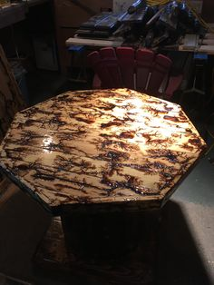 Octagon  shape spool table with lichtenberg burn