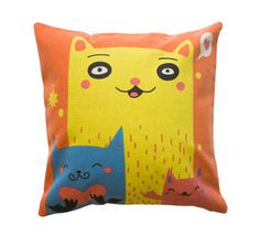 This paw-some cat family are sure to put a smile on your face when you get home from a long day's work. Predominantly orange, this pillow is accented with blue, yellow, and red - making it the perfect statement piece for your living room or bedroom. Curl up with this cute trio for a puuuurrrfect cuddle.