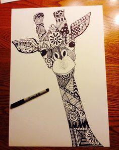 Doodle art 413838653259369356 - Giraffe Papercraft Giraffe Zentangle Sharpie Art Artist Liz Leonard Source by Doodle Art Designs, Doodle Art Drawing, Zentangle Drawings, Mandala Drawing, Cool Art Drawings, Art Drawings Sketches, Zentangle Art Ideas, Easy Zentangle, Doodling Art